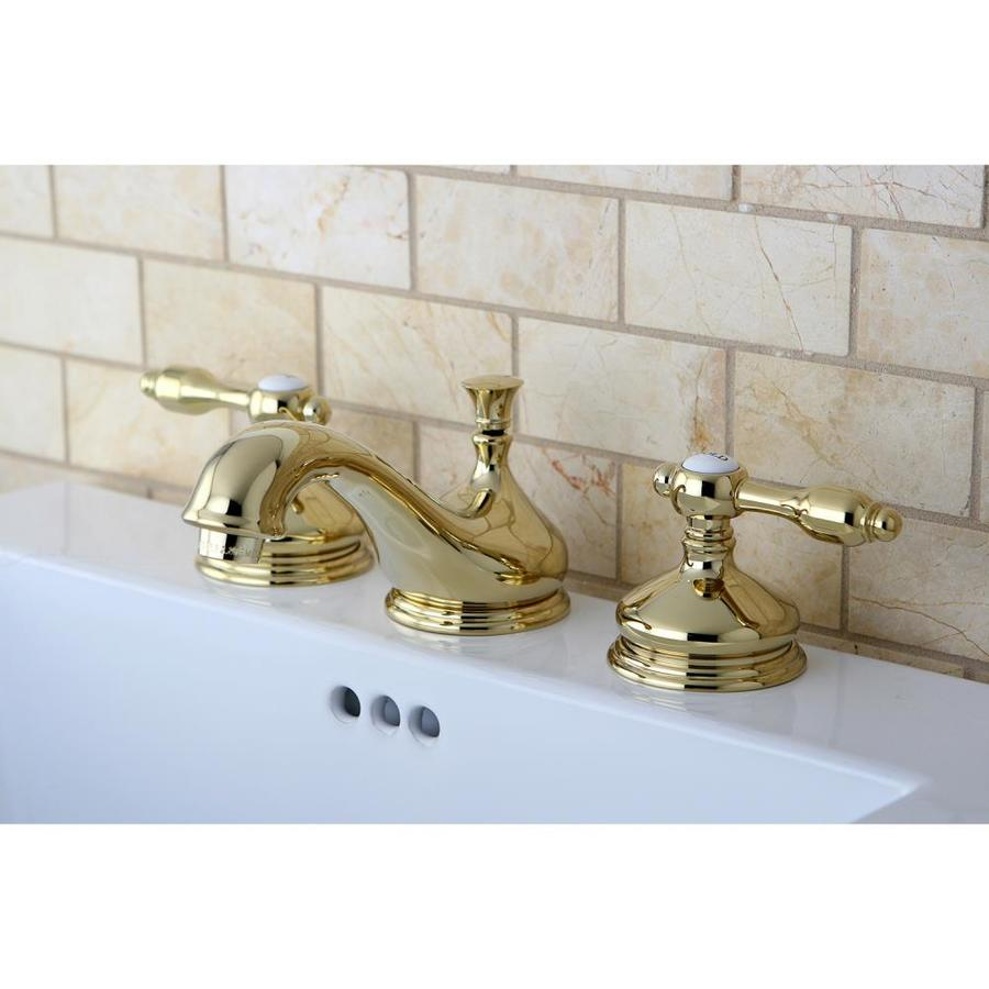 kingston brass tudor polished brass 2 handle 8 in widespread bathroom sink faucet with drain in the bathroom sink faucets department at lowes com