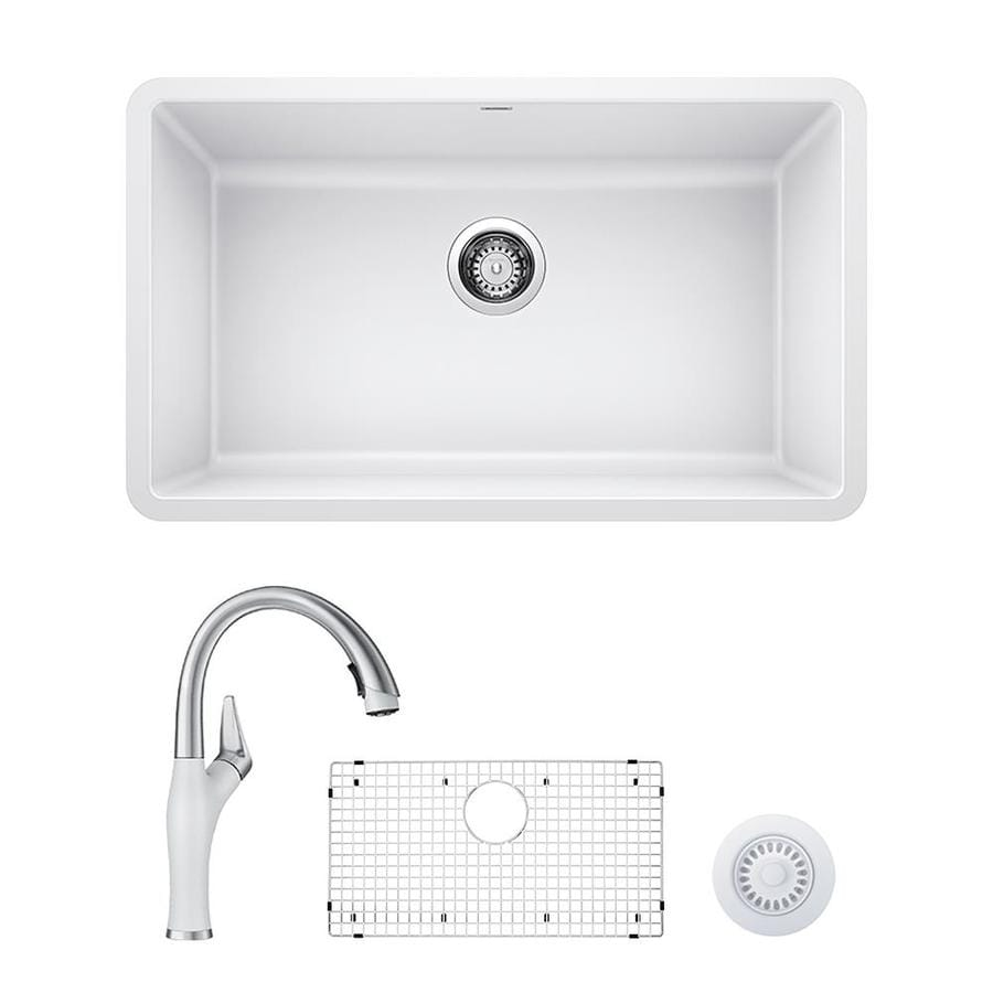 blanco precis artona undermount 30 in x 18 in white single bowl corner install kitchen sink all in one kit in the kitchen sinks department at lowes com