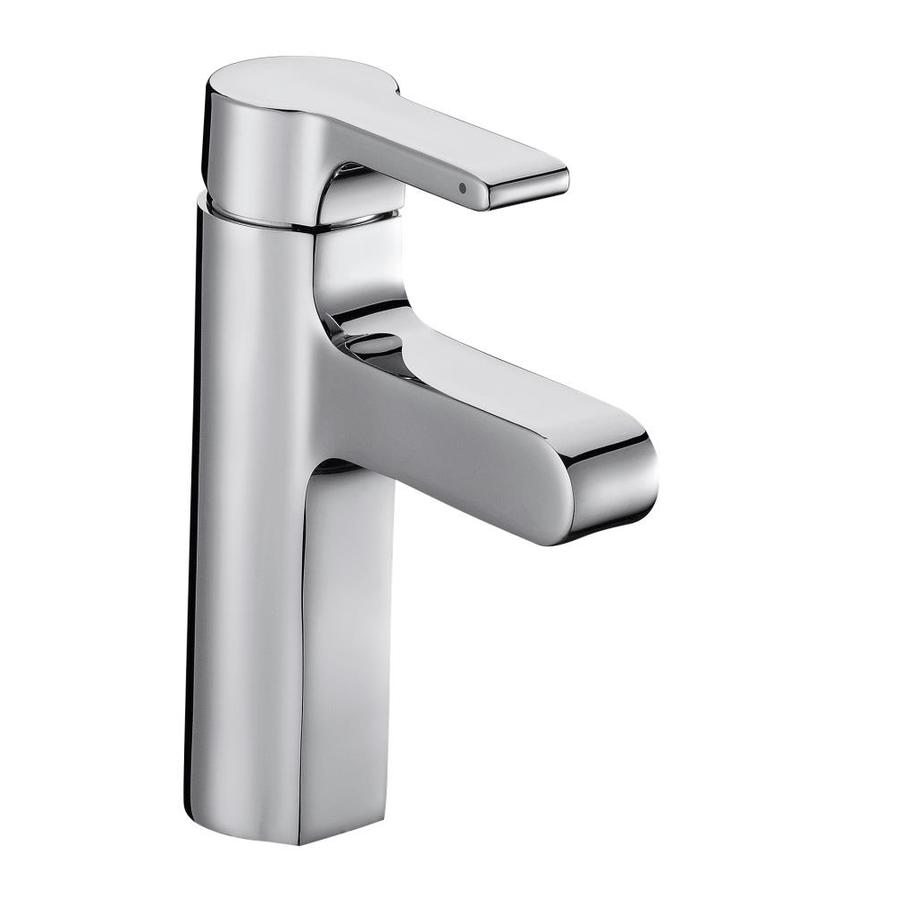 kohler singulier polished chrome 1 handle single hole bathroom sink faucet with drain in the bathroom sink faucets department at lowes com