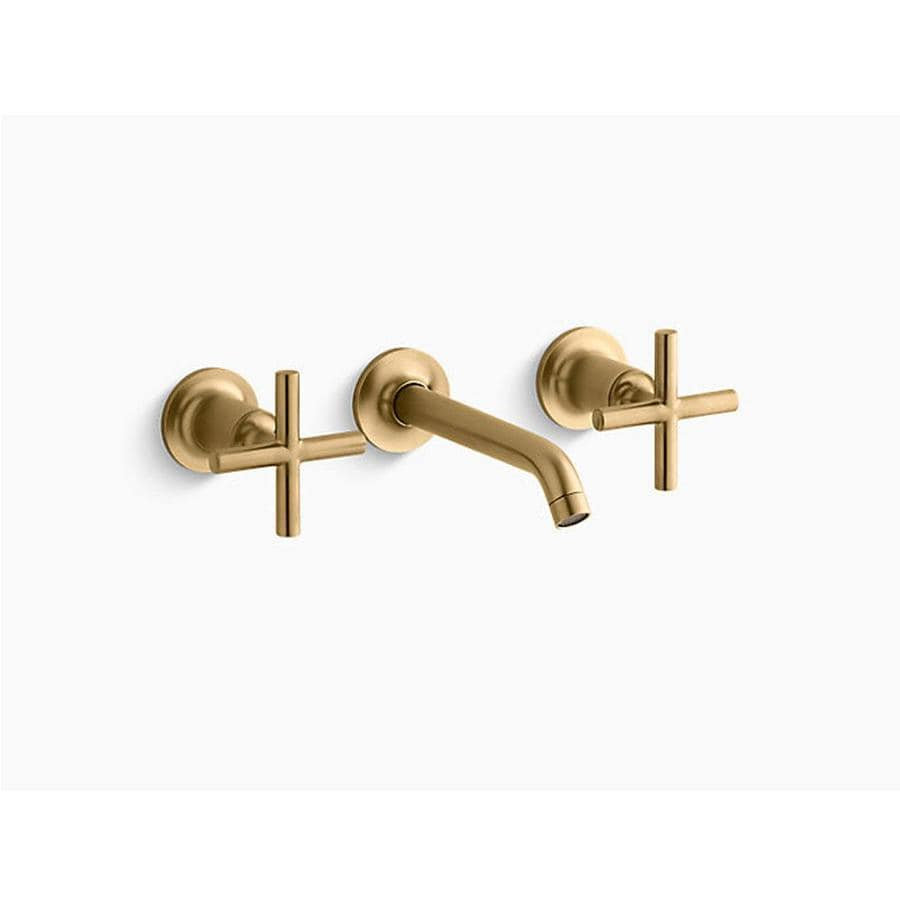kohler purist vibrant brushed gold 2 handle wall mount watersense bathroom sink faucet in the bathroom sink faucets department at lowes com