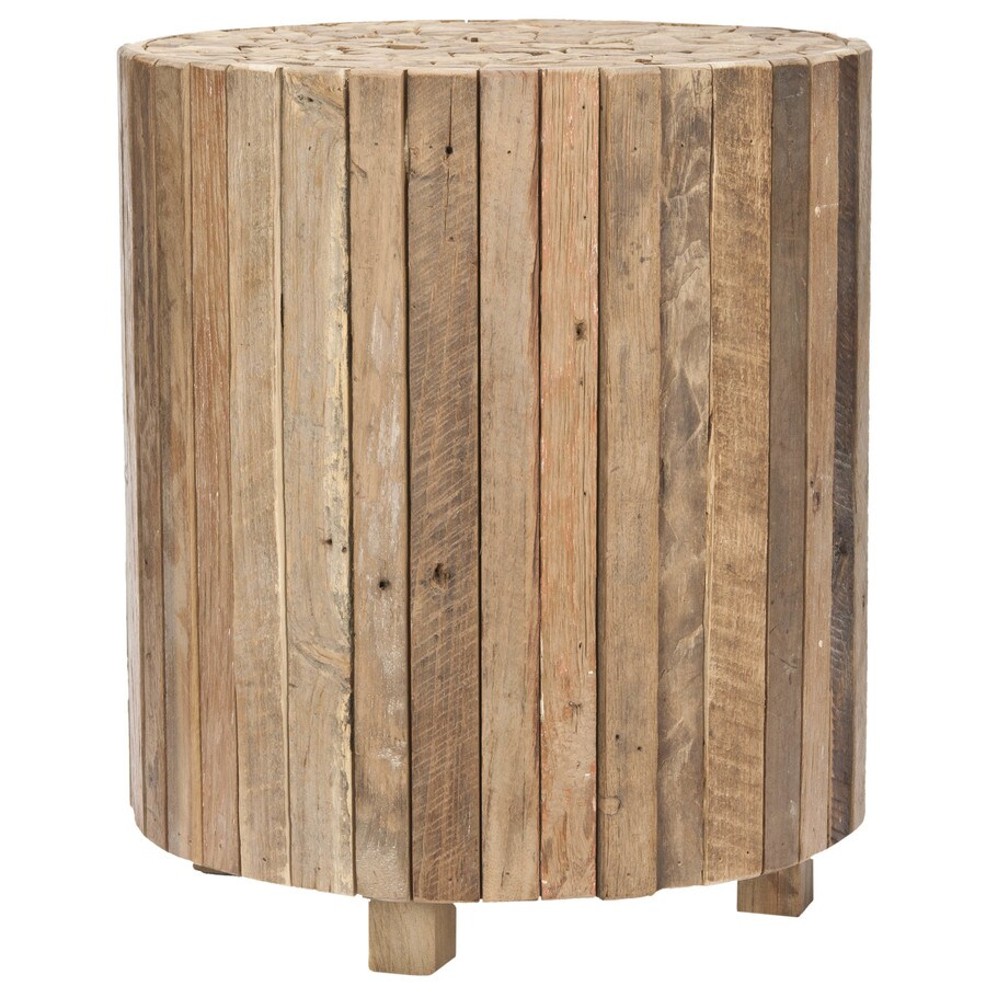 safavieh richmond medium oak wood round end table in the end tables department at lowes com