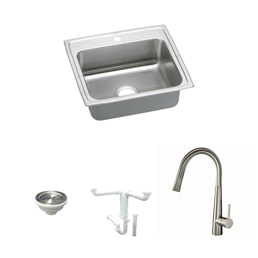elkay celebrity drop in 22 in x 19 5 in brushed satin single bowl 1 hole kitchen sink all in one kit in the kitchen sinks department at lowes com