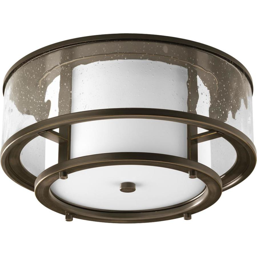 progress lighting bay court 15 in w antique bronze outdoor flush mount light in the outdoor flush mount lights department at lowes com