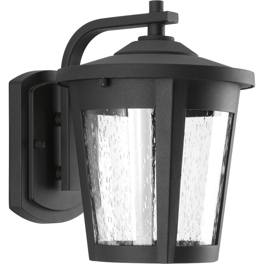 progress lighting east haven led 9 75 in h black led outdoor wall light energy star in the outdoor wall lights department at lowes com