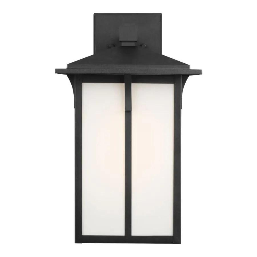 sea gull lighting tomek 18 in h black medium base e 26 outdoor wall light in the outdoor wall lights department at lowes com