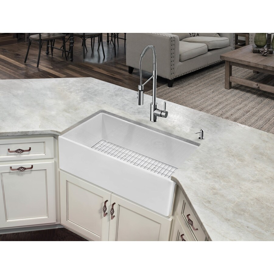 superior sinks farmhouse apron front 33 in x 18 in white single bowl kitchen sink all in one kit in the kitchen sinks department at lowes com