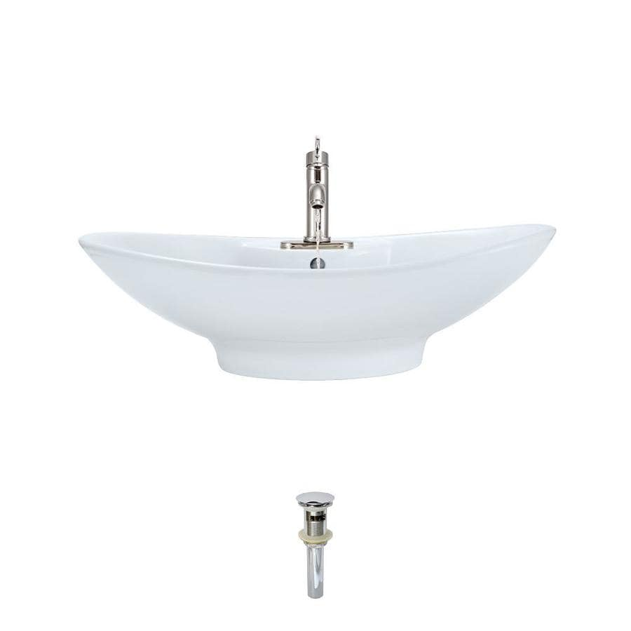 mr direct white porcelain vessel oval bathroom sink with faucet and overflow drain drain included 25 63 in x 17 in in the bathroom sinks department at lowes com