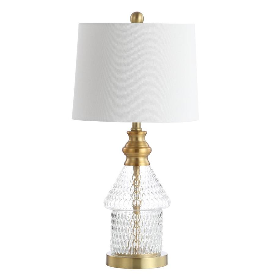safavieh camden 24 5 in clear brass gold led rotary socket table lamp with fabric shade in the table lamps department at lowes com
