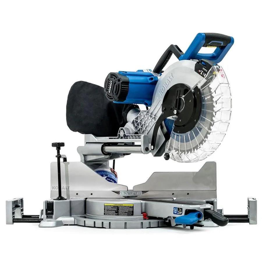 medium resolution of kobalt 12 in 15 amp dual bevel sliding laser compound miter saw
