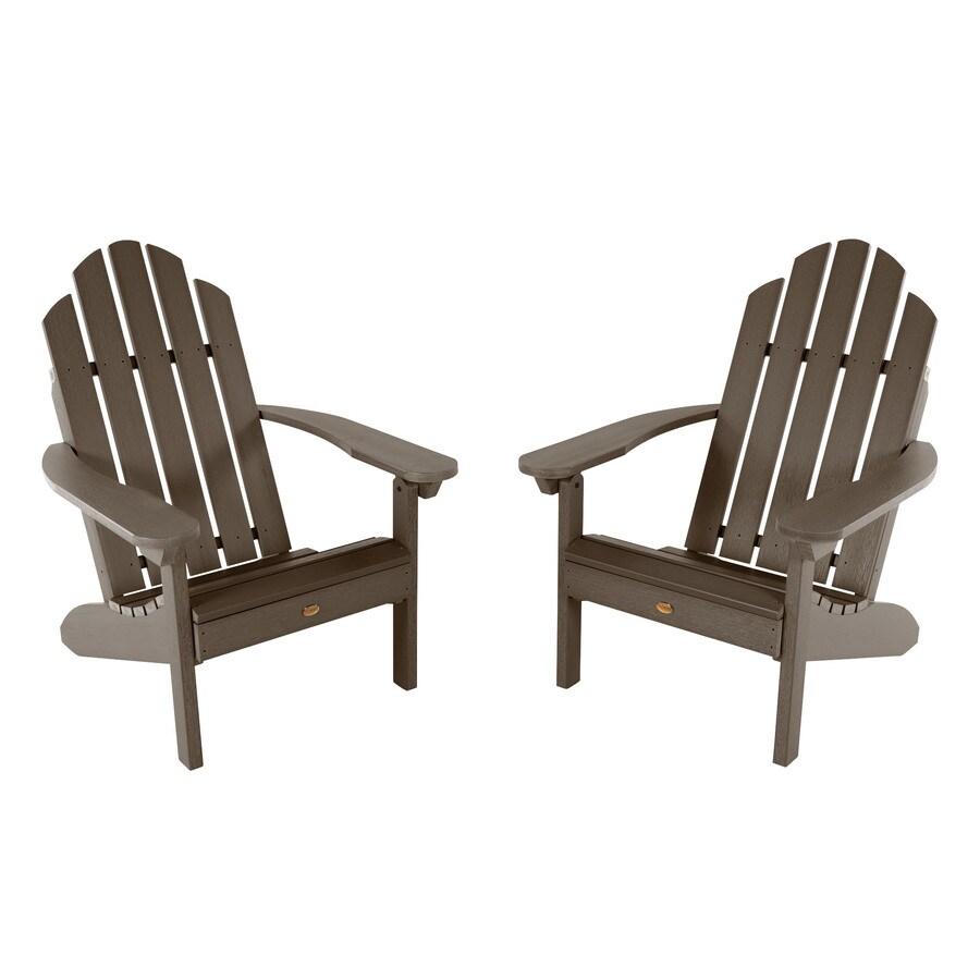 highwood adirondack set of 2 weathered acorn plastic frame stationary adirondack chair s with slat seat seat lowes com