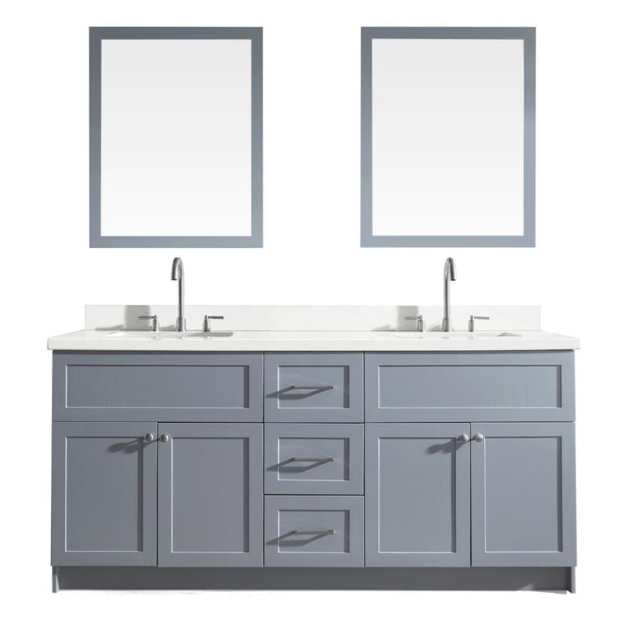 ariel hamlet 73 in grey undermount double sink bathroom vanity with white quartz top mirror included