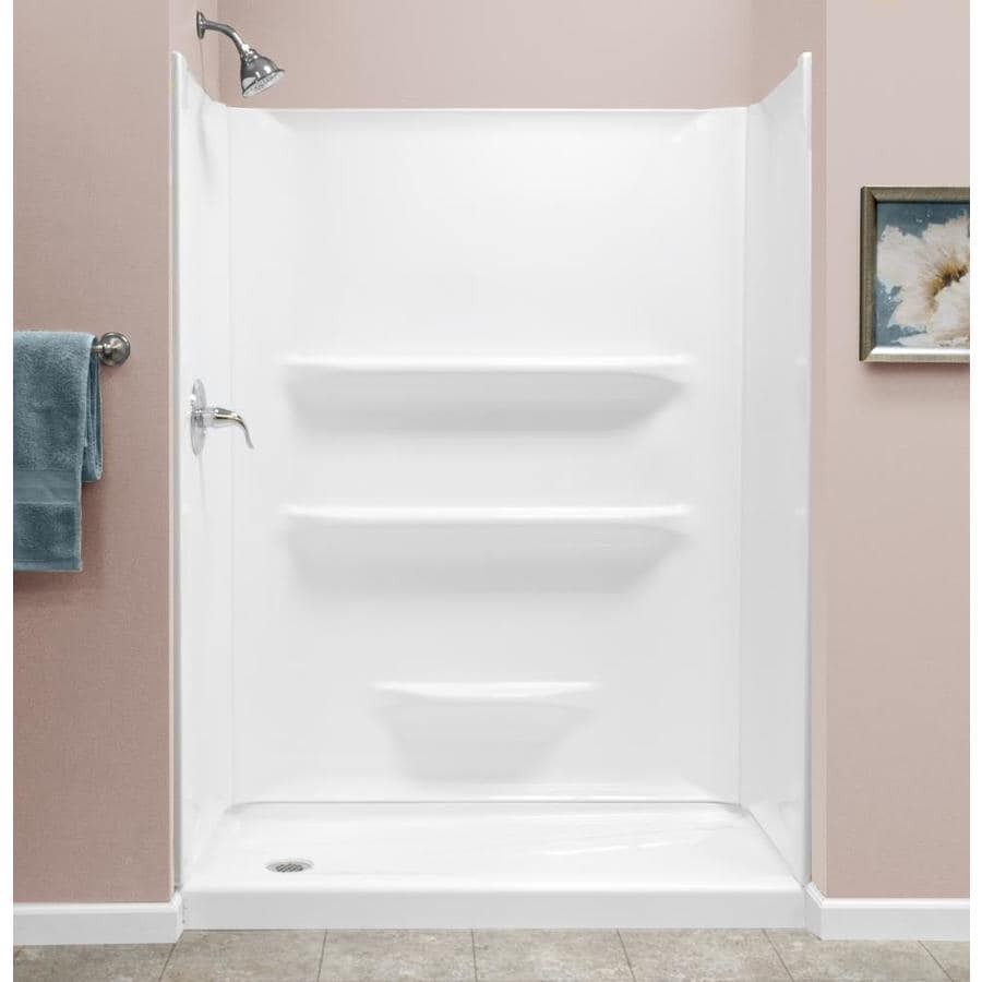 Shop Style Selections White Acrylic Shower Base Actual 27 In W X 53875 In L With Left Drain
