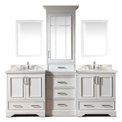 Lowes White Kitchen Sink Aid Refrigerator Ariel Stafford 85 In Double Bathroom Vanity With Quartz Top