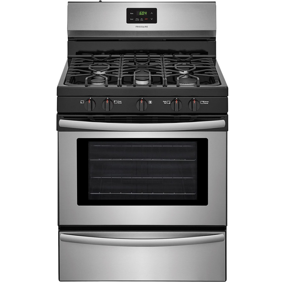 kitchen stove gas country style table ranges at lowes com frigidaire 5 burner freestanding 4 2 cu ft range easycare stainless steel