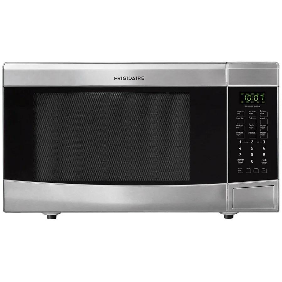 frigidaire 1 6 cu ft 1100 watt countertop microwave stainless steel lowes com