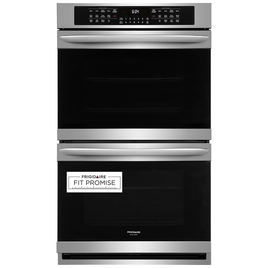 frigidaire gallery 30 in self cleaning single fan european element double electric wall oven smudge proof stainless steel