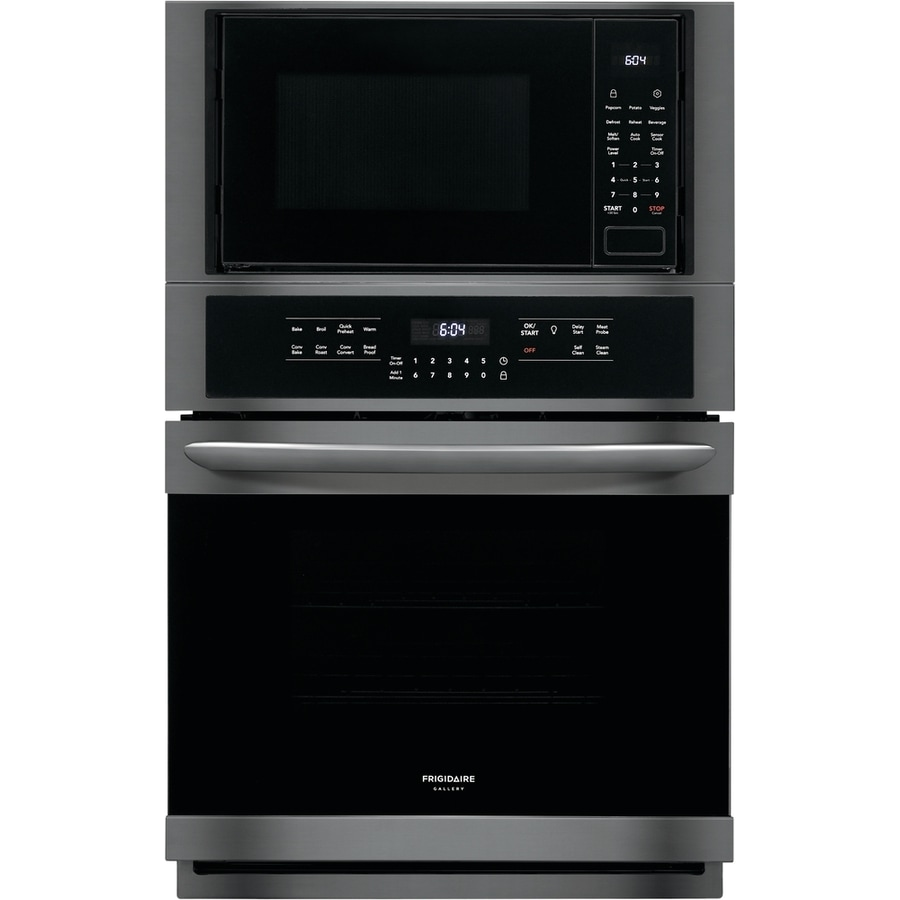 frigidaire gallery 27 in self cleaning convection european element microwave wall oven combo black stainless steel