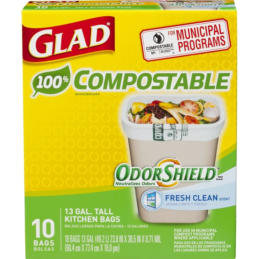 glad kitchen trash bags delta sinks 10 pack 13 gallon fresh clean green at lowes com