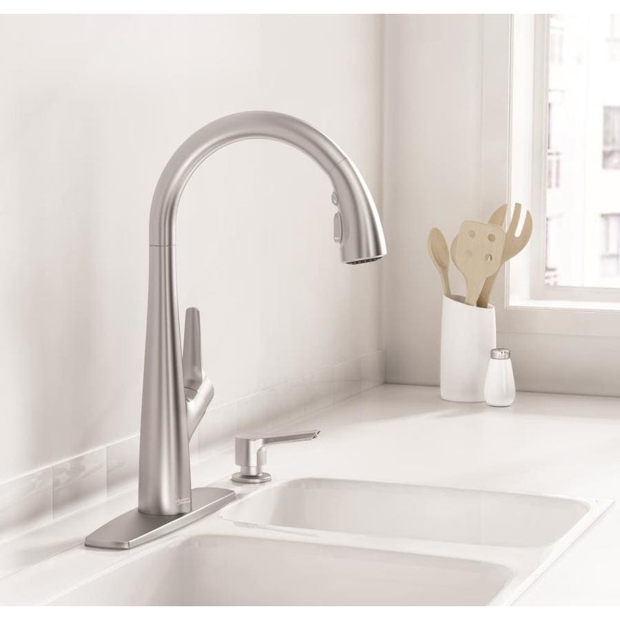 american standard kitchen faucet monarch island kerris stainless steel 1 handle deck mount pull down