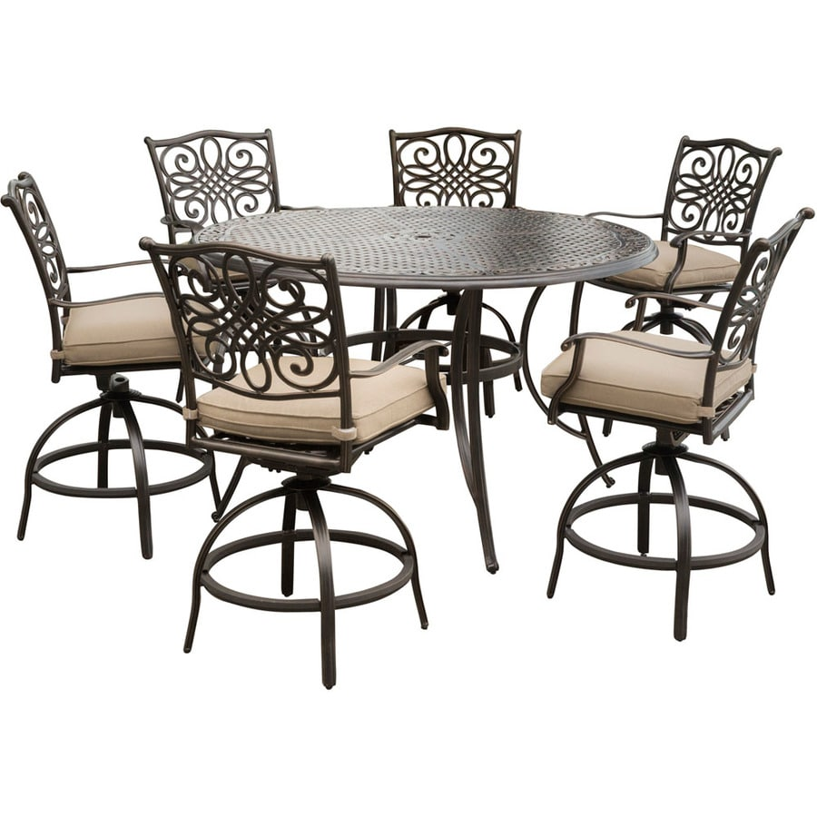 hanover traditions 7 piece bronze frame patio set with tan hanover cushion s included in the patio dining sets department at lowes com