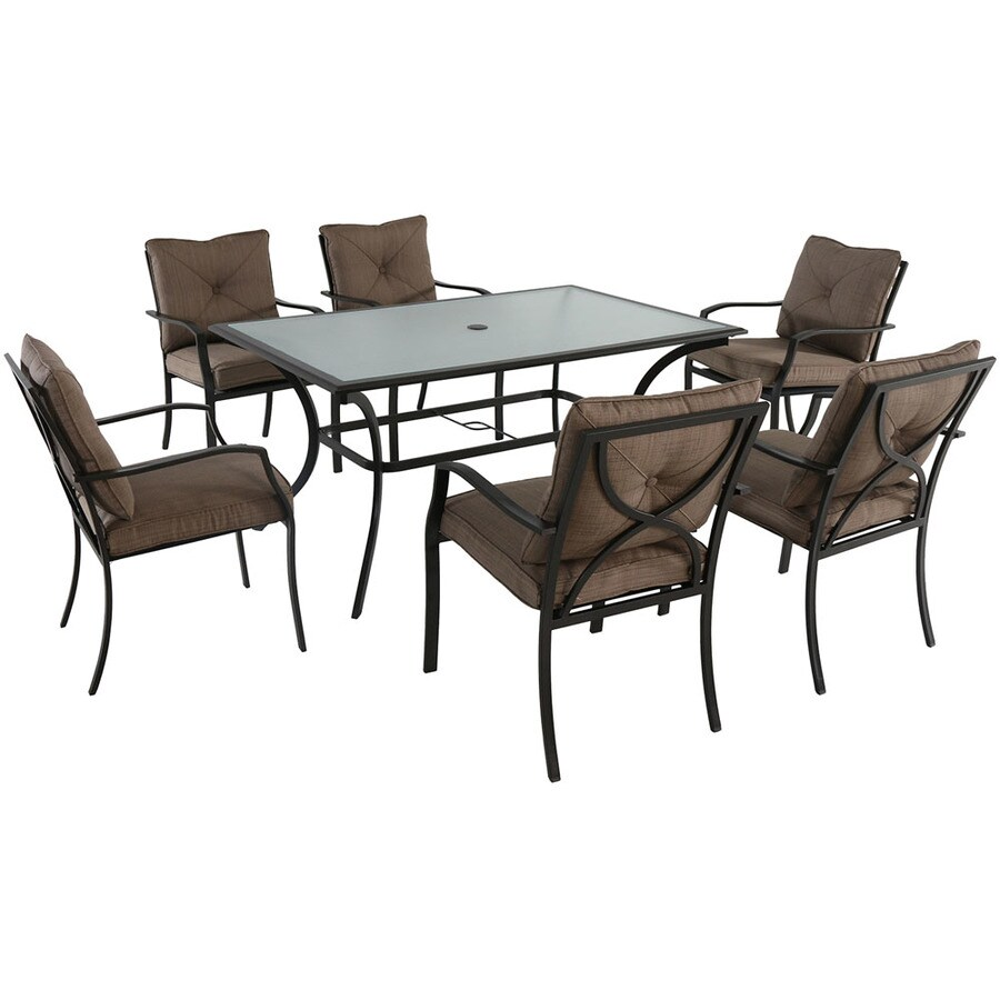 hanover palm bay 7 piece brown frame patio set with brown hanover cushion s included