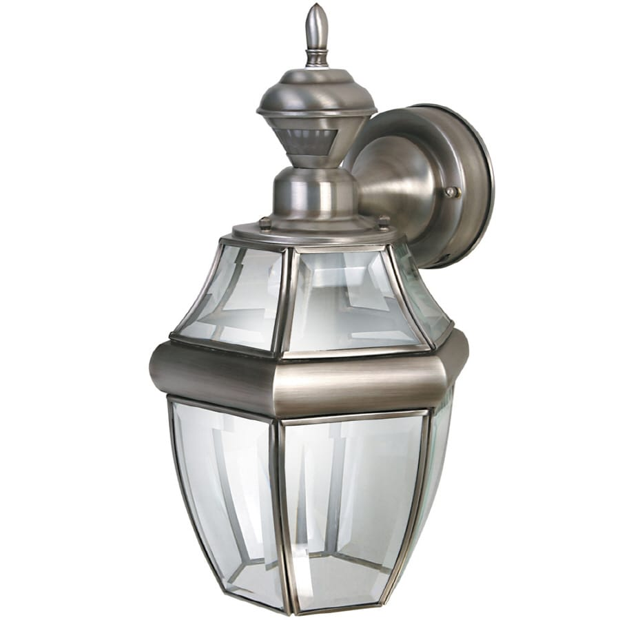 hight resolution of secure home hanging carriage 14 5 in h antique silver motion activated outdoor wall light