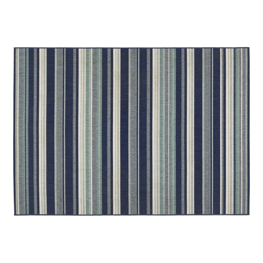 allen roth syden 5 x 7 oasis blue indoor outdoor stripe coastal area rug