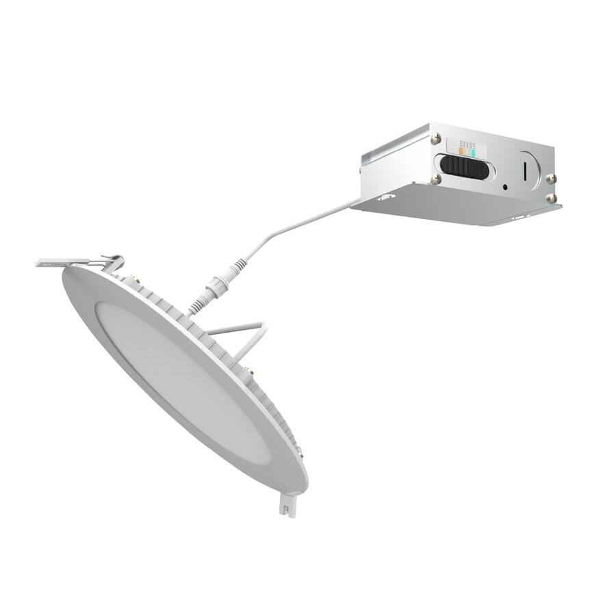 utilitech canless high output color choice 5 in or 6 in 85 watt equivalent white round dimmable recessed downlight