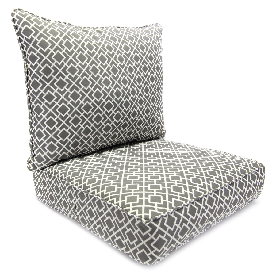 lowes outdoor chair cushions badger basket high jordan manufacturing 2 piece poet gray deep seat patio cushion