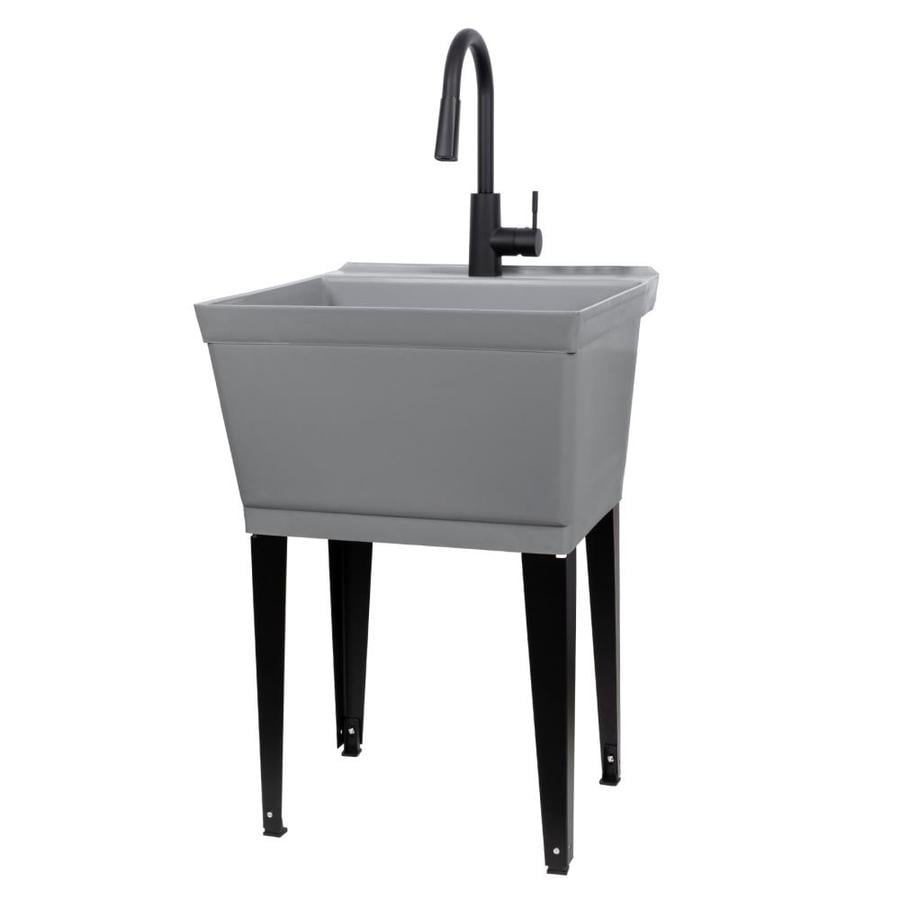 cambridge resources 24 in x 23 75 in 1 basin gray thermoplastic freestanding utility tub with drain and faucet