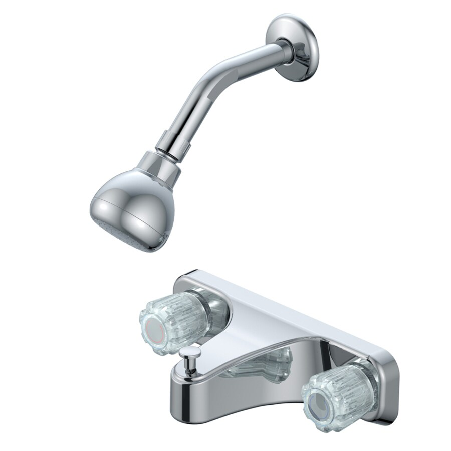 project source chrome 2 handle bathtub and shower faucet with valve in the shower faucets department at lowes com