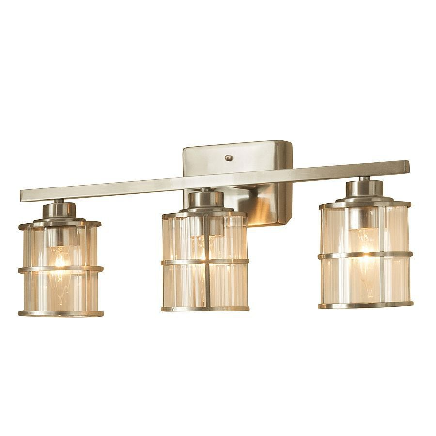 Bathroom Light Fixtures Allen Roth Kenross 3 Light 21 2 In Satin Nickel Cage Vanity