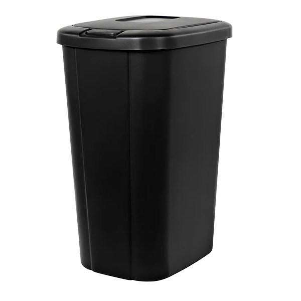 Home Logic Touch Lid 13-gallon Black Plastic Trash