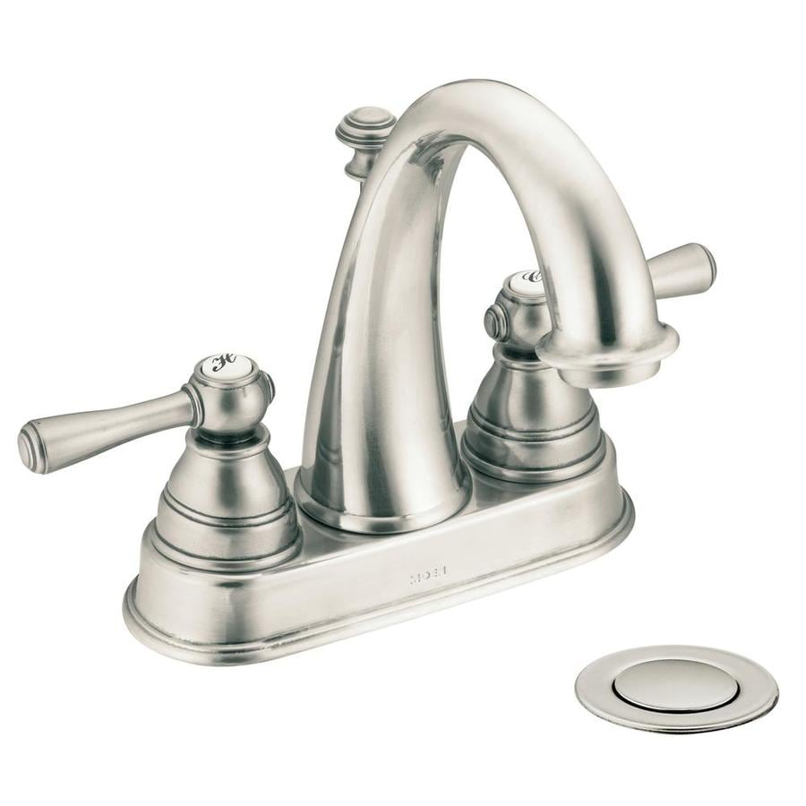 Shop Moen Kingsley Antique Nickel 2Handle 4in Centerset WaterSense Bathroom Faucet Drain