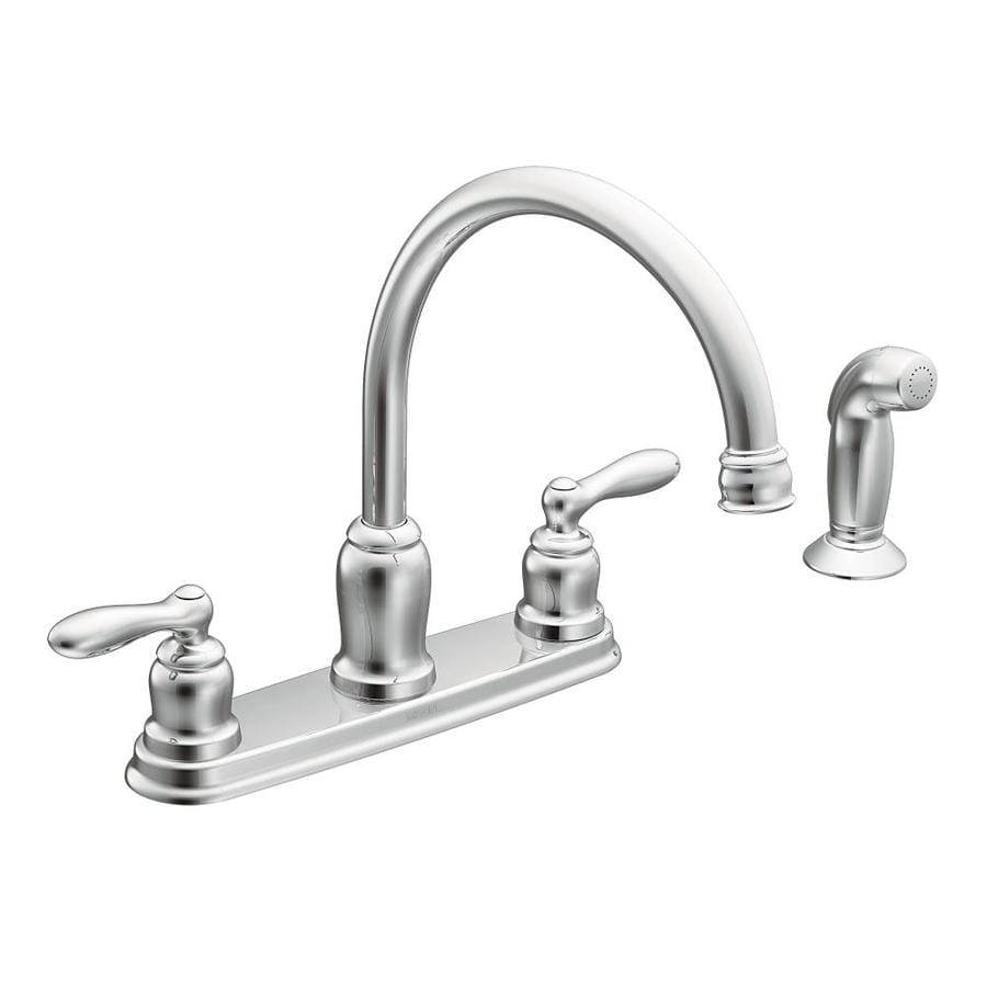 moen faucet kitchen flush mount lighting caldwell chrome 2 handle deck high arc at