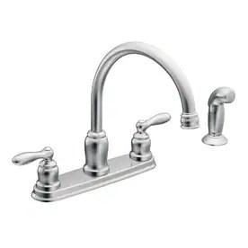 moen kitchen faucets lowes hats at com caldwell chrome 2 handle deck mount high arc faucet