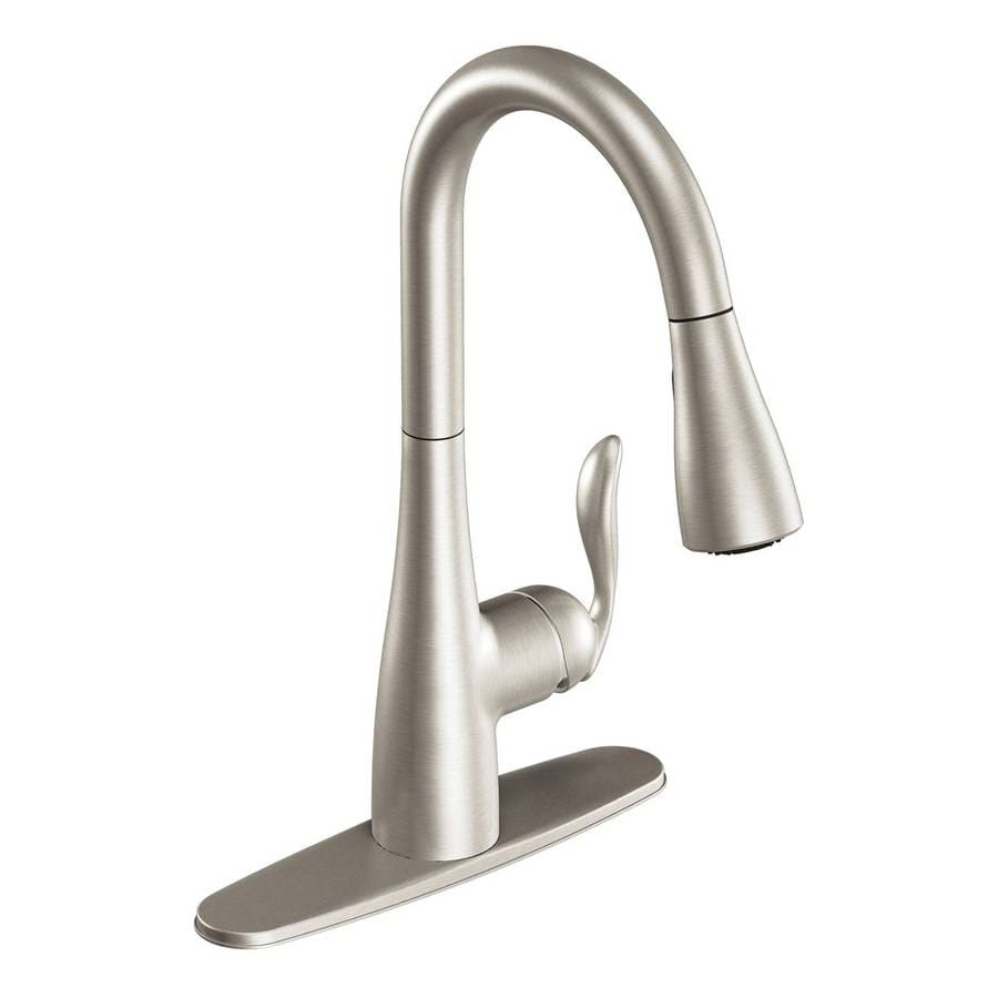 moen kitchen faucet pull out how much does it cost to remodel a small arbor stainless 1 handle deck mount down at