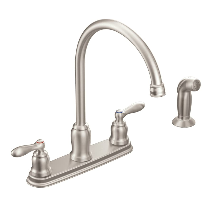 kitchen faucet moen white cart caldwell spot resist stainless 2 handle deck mount high arc