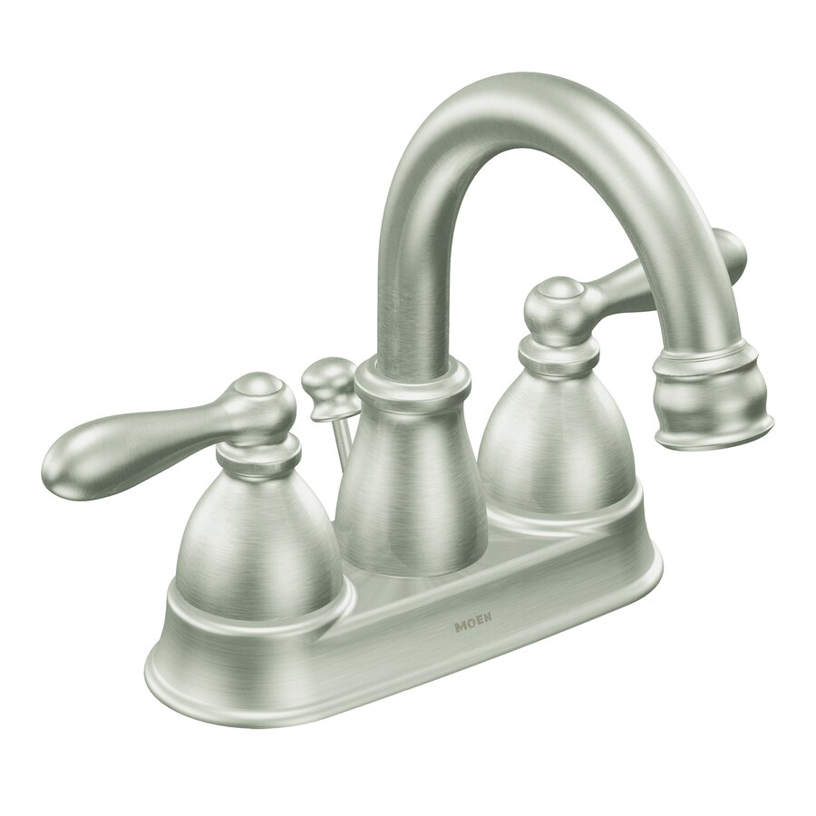 Shop Moen Caldwell Spot Resist Brushed Nickel 2Handle 4in Centerset WaterSense Bathroom Faucet