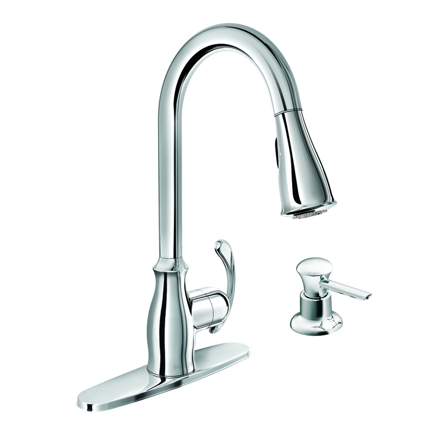 moen pull down kitchen faucet appliance garage kipton chrome 1 handle deck mount at