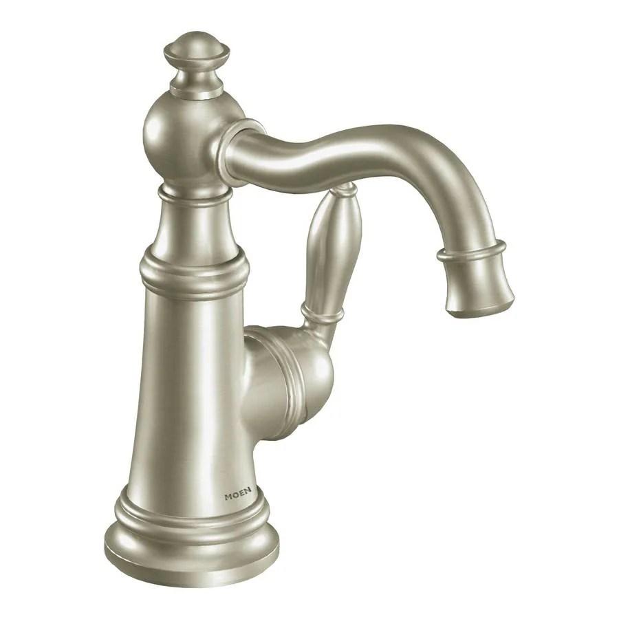 Shop Moen Weymouth Brushed Nickel 1Handle Single Hole WaterSense Bathroom Faucet Drain