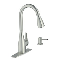 Kitchen Faucet Moen Small Commercial Kiran Spot Resist Stainless 1 Handle Pull Down