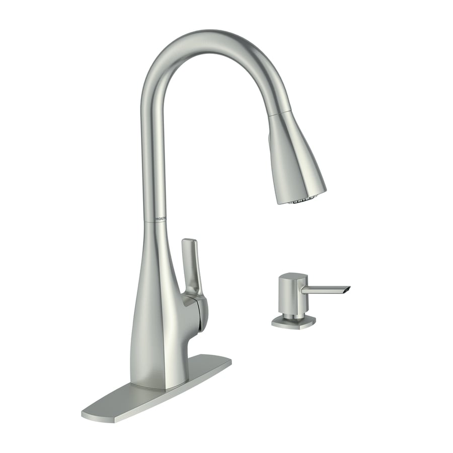 moen pull down kitchen faucet counter island kiran spot resist stainless 1 handle