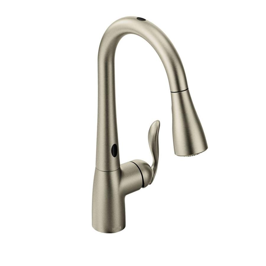 moen arbor spot resist stainless 1 handle deck mount pull down touchless kitchen faucet deck plate included
