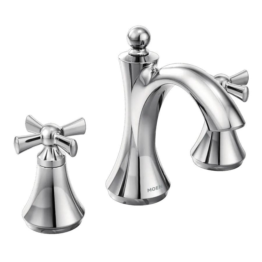 moen wynford chrome 2 handle widespread watersense bathroom sink faucet with drain