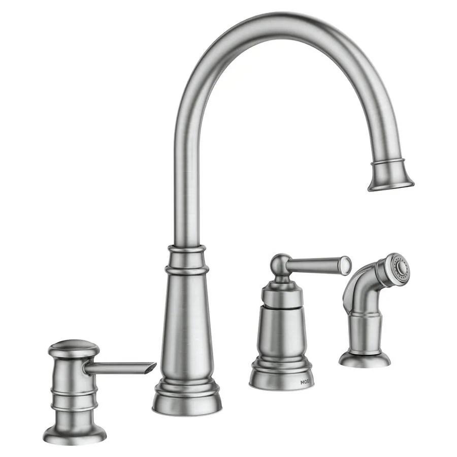 4 hole kitchen faucets floor ideas moen edison spot resist stainless 1 handle deck mount high arc faucet