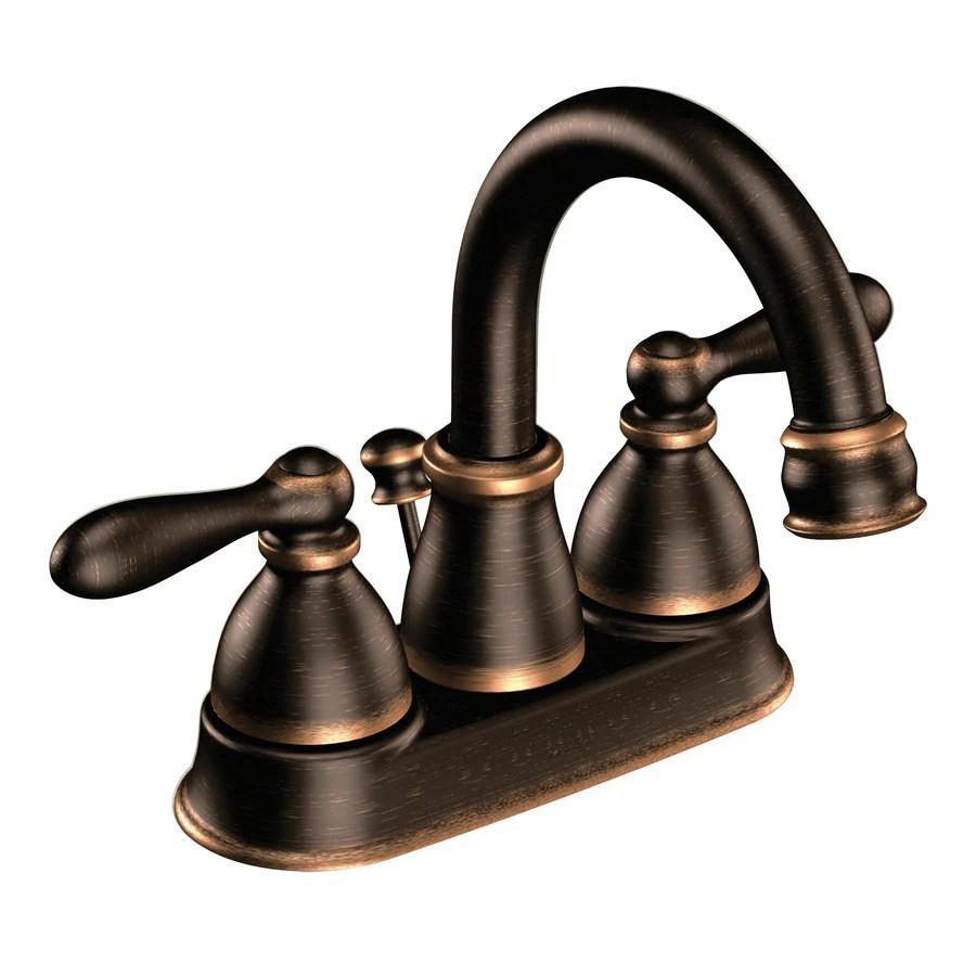 Moen Caldwell Mediterranean Bronze 2Handle 4in Centerset WaterSense Bathroom Sink Faucet with