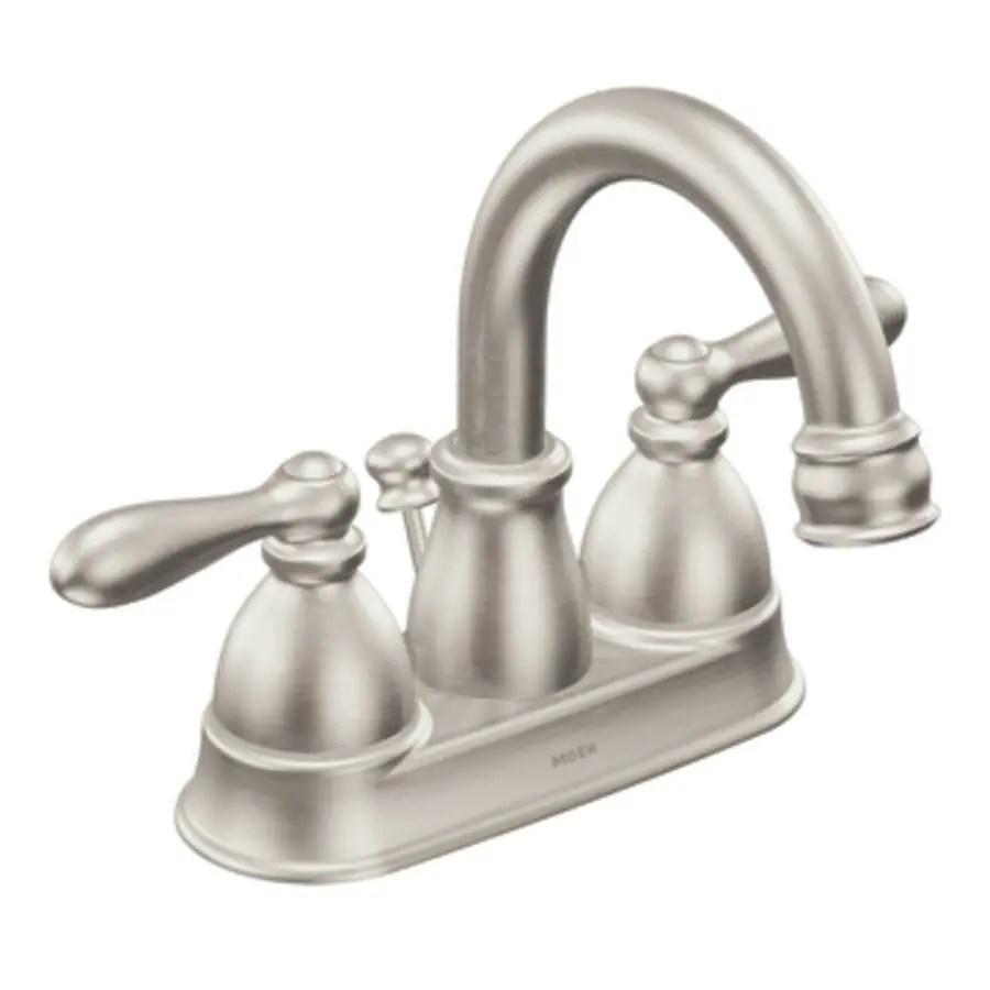Moen Caldwell Spot Resist Brushed Nickel 2Handle 4in Centerset WaterSense Bathroom Sink Faucet