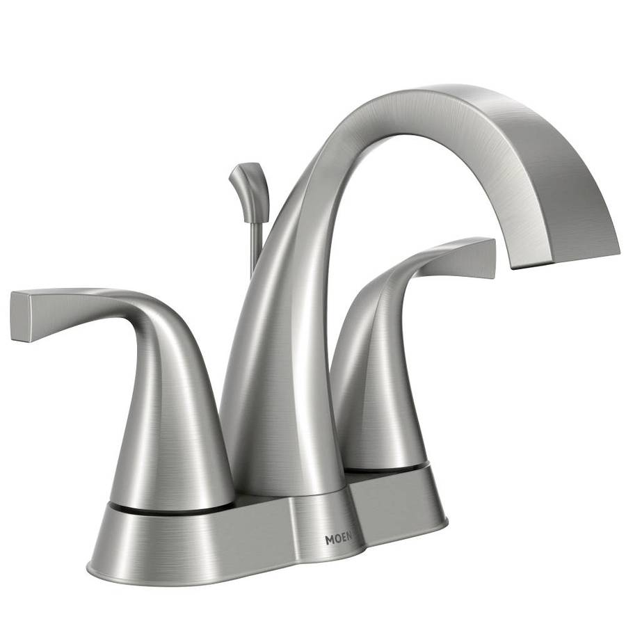 Ideas Bathroom Sink Faucets Moen Oxby Spot Resist Brushed Nickel 2 Handle 4 In Centerset