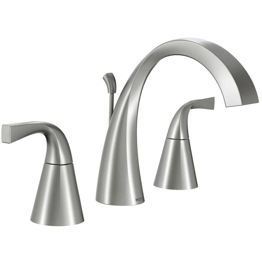 moen oxby spot resist brushed nickel 2 handle widespread watersense bathroom sink faucet with drain lowes com